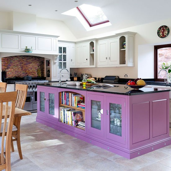 Purple Painted Kitchen Island Colouful Kitchen Ideas