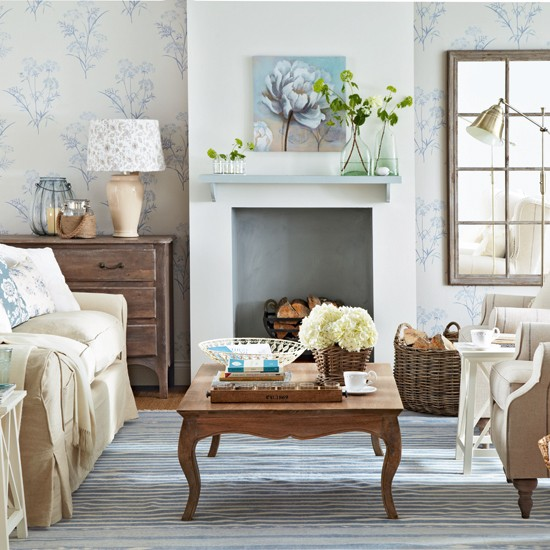 Pale Blue And Cream Floral Living Room Living Room
