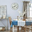Pale blue and light oak dining room