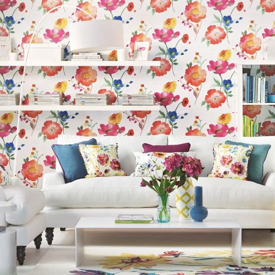 living room with bold floral wallpaper living room