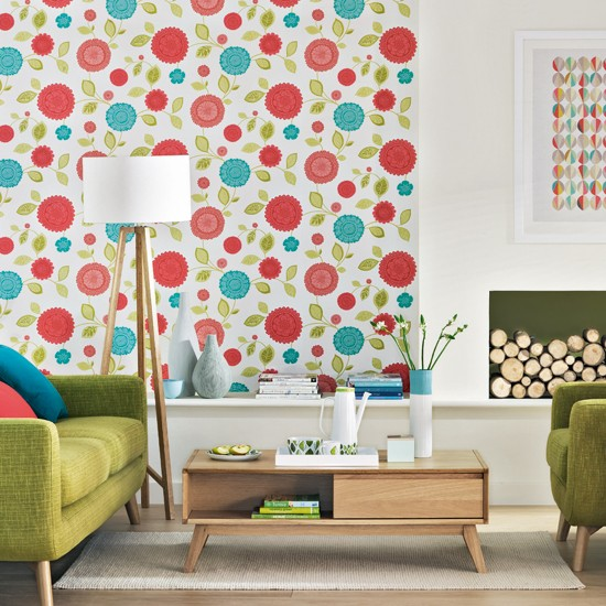 Retro living room with floral wallpaper living room for Ideal home wallpaper