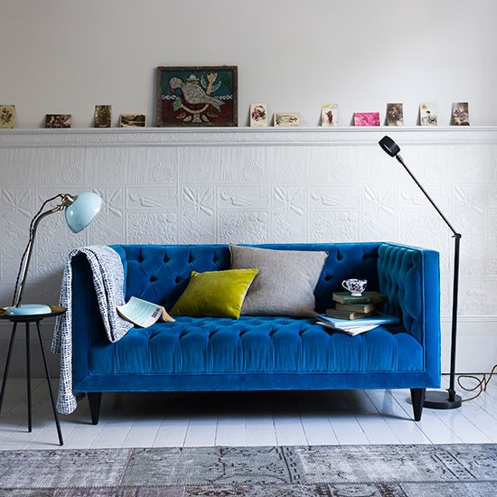 Deep blue seat | How to decorate with blue | PHOTO GALLERY | Homes & Gardens | housetohome.co.uk