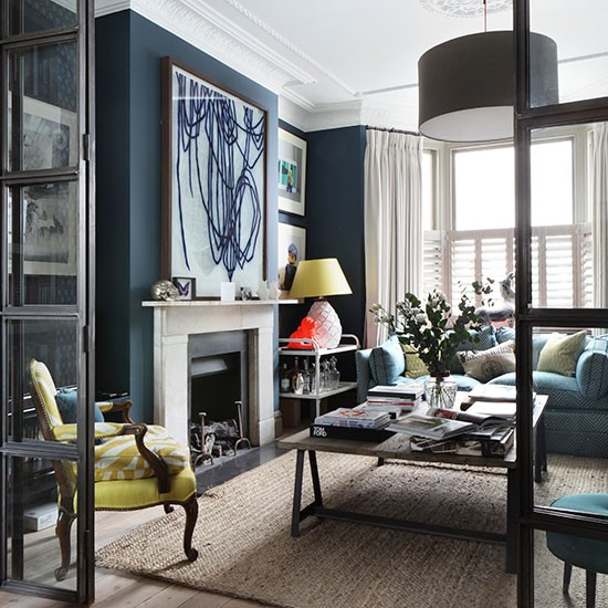 navy living room how to decorate with blue housetohome
