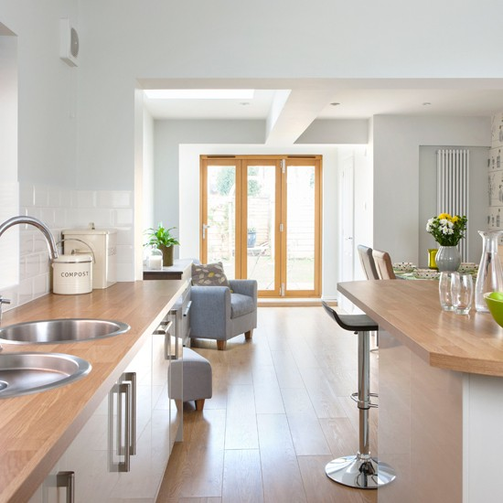 Pale Grey Kitchen With Oak effect Floor