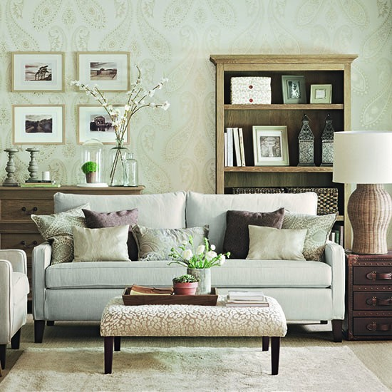 Delicately patterned soft green living room | How to decorate with neutrals | PHOTO GALLERY | Ideal Home | Housetohome.co.uk