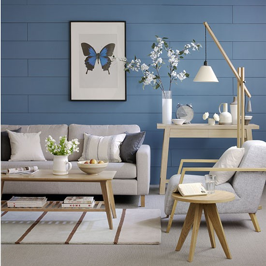 Neutral living space with bold blue background | How to decorate with neutrals | PHOTO GALLERY | Ideal Home | Housetohome.co.uk