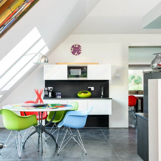 White kitchen with green red and blue chairs white for Red white and blue kitchen ideas