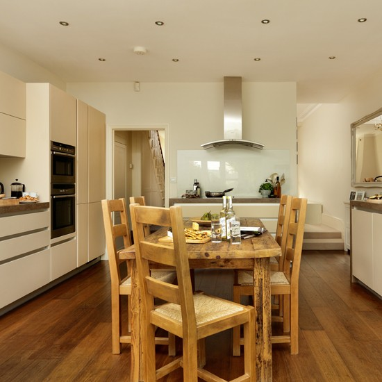 Oak floor and cream kitchen  kitchen decorating  housetohome co uk