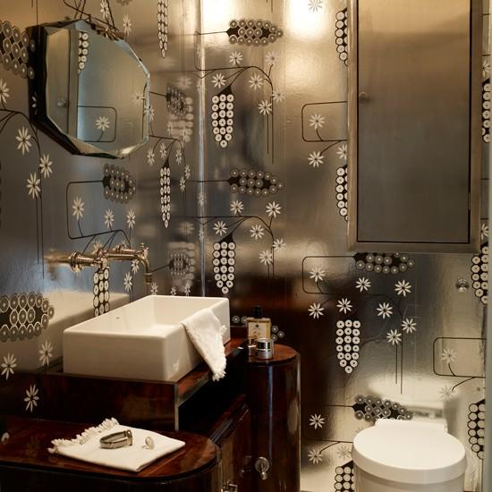 Bathroom With Silver Wallpaper Great Gatsby Design Room Ideas