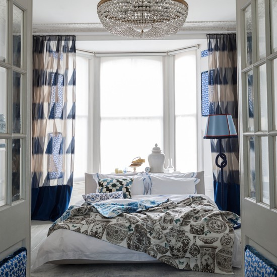 blue and white edwardian style bedroom bedroom