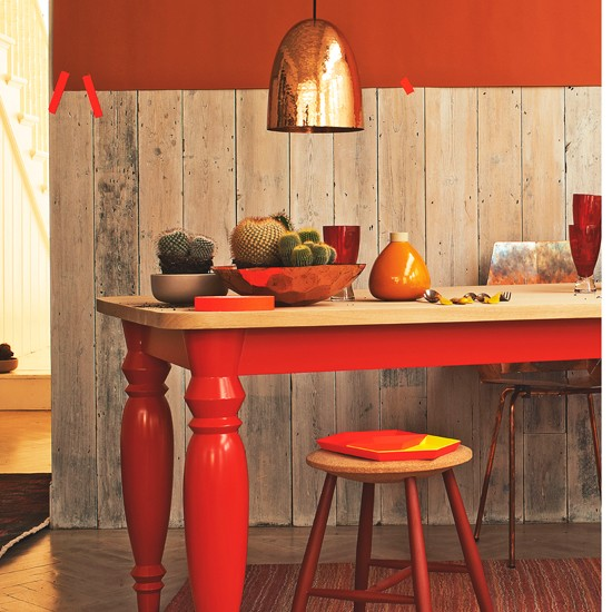 Fiery red and orange dining room dining room decorating for Red dining room decorating ideas