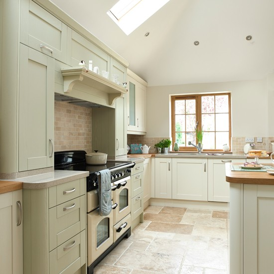 Sage green and cream kitchen kitchen decorating for Green and white kitchen designs