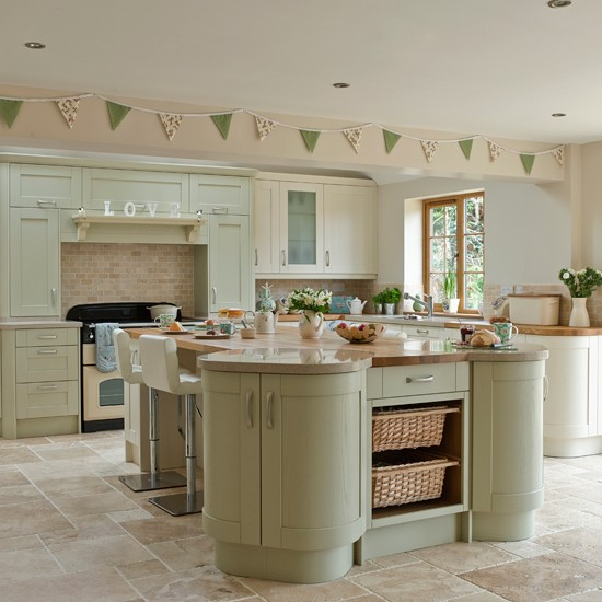 French Country Kitchen Green: Sage And Cream Shaker-style Kitchen