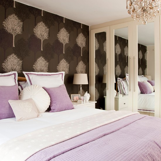 Lavender bedroom with feature wall bedroom decorating for Feature wallpaper bedroom ideas
