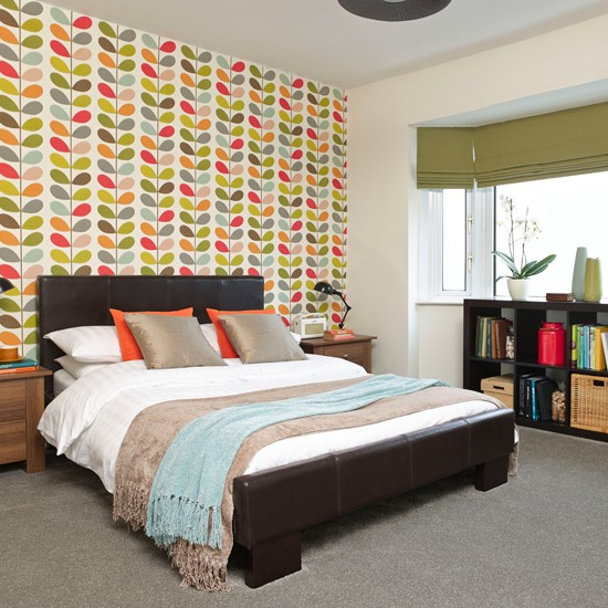 Bold Bedroom With Patterned Feature Wall