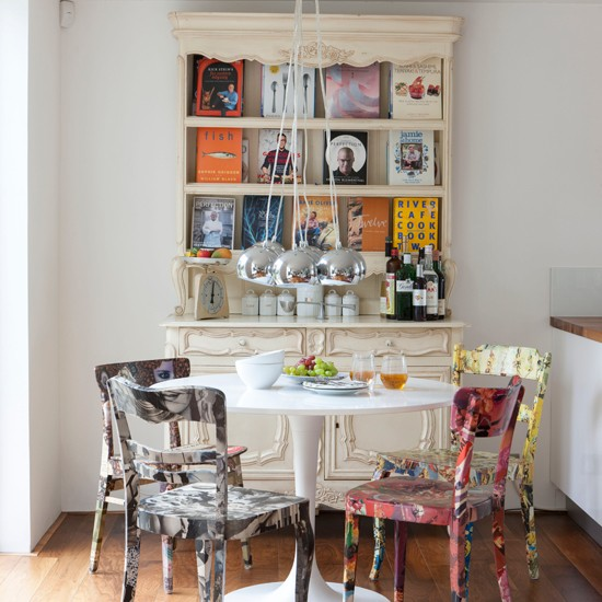 Eclectic dining room with hand painted chairs dining for Dining room interior design ideas uk