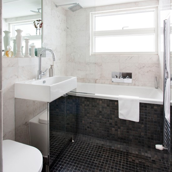 Monochrome marble tiled bathroom bathroom decorating for Small bathroom ideas uk