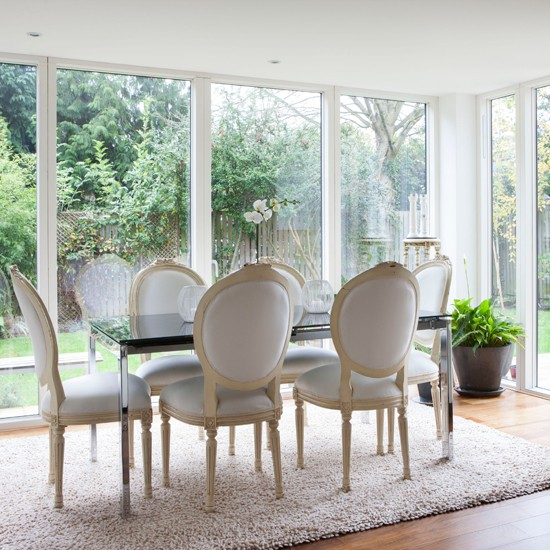 Bright neutral dining room extension dining room for Dining room extension ideas