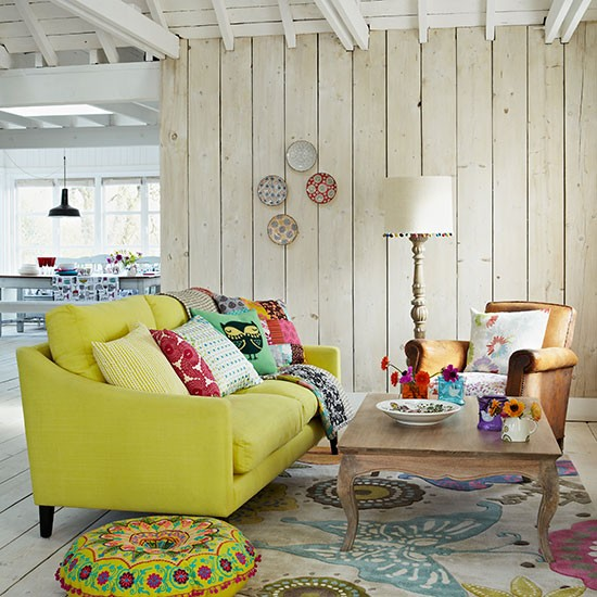 Country Style Living Room With Zesty Lime Sofa Tropical Summer Room