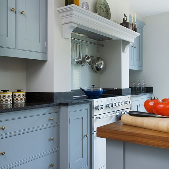 Blue Grey Kitchen With Limestone Worktop Housetohomecouk