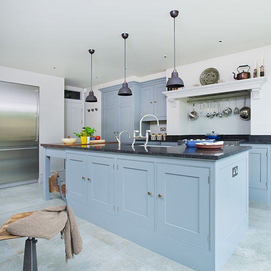 Blue grey kitchen island for Grey blue white kitchen