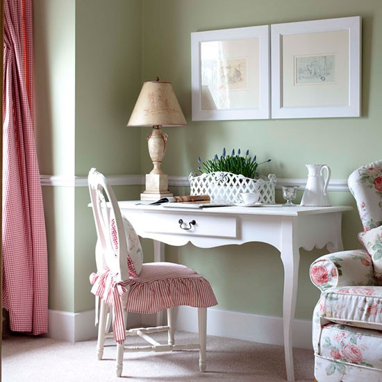 Feminine Home Office With Mismatched Fabrics Interior Design Ideas