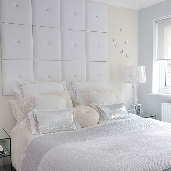 Sophisticated bedroom with oversized headboard | White bedroom ideas | Bedroom | PHOTO GALLERY | Homes & Gardens | Housetohome.co.uk