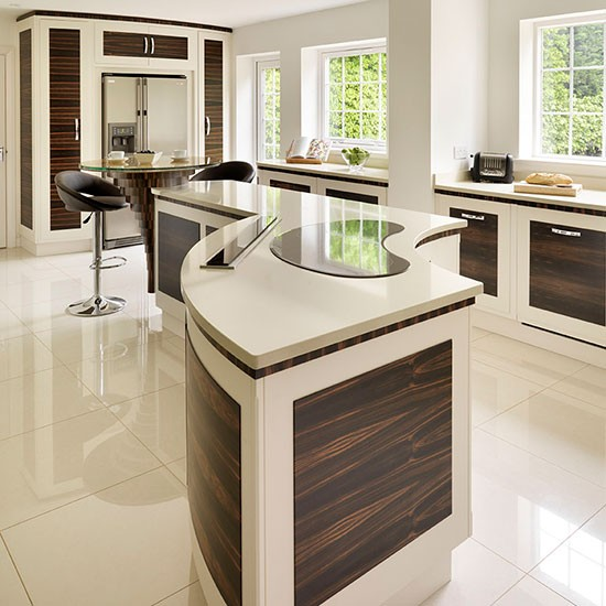 Central island take a tour around a modern kitchen with for Curved kitchen units uk