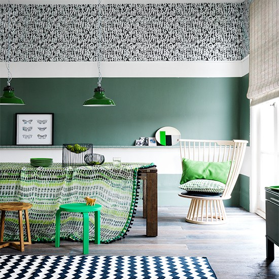 Green Dining Room With Printed Tablecloth Tribal Room Design Ideas