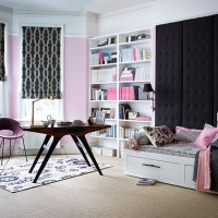 Pink and charcoal home office and guest room