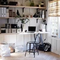 White home office with black accents