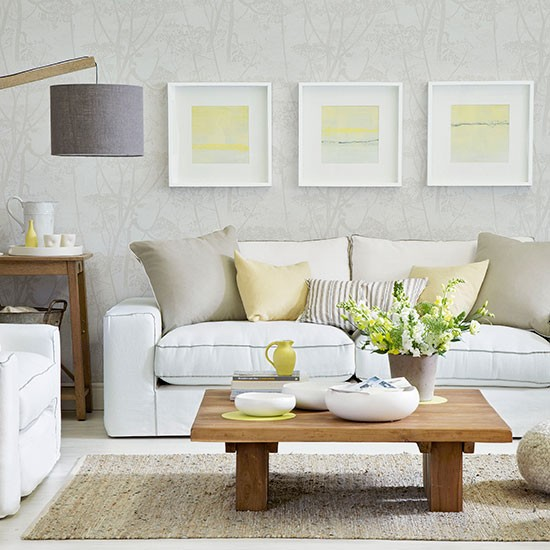 White and pale yellow living room for Living room ideas pastel
