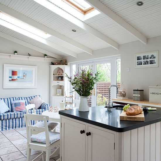Country Style Kitchen With Seating Area Kitchen