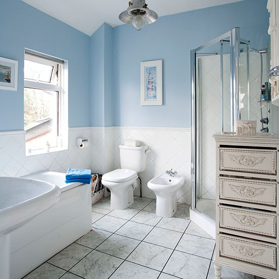 Pale blue and white traditional style bathroom bathroom for White and blue bathroom ideas