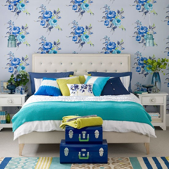 Modern blue bedroom with floral wallpaper bedroom decorating ideal