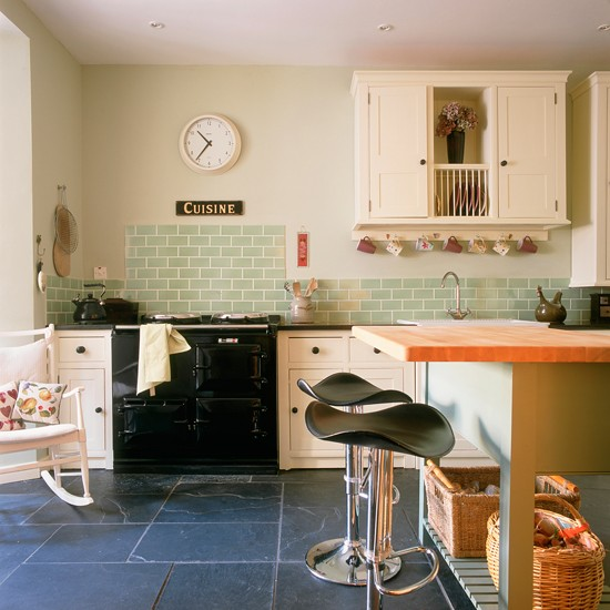 Modern country kitchen with green tiles green kitchen for Green country kitchen ideas