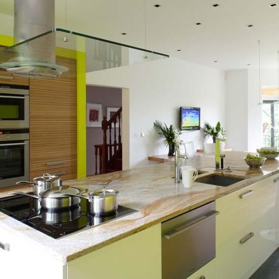 Modern lime green kitchen  Green kitchen colour ideas  home trends