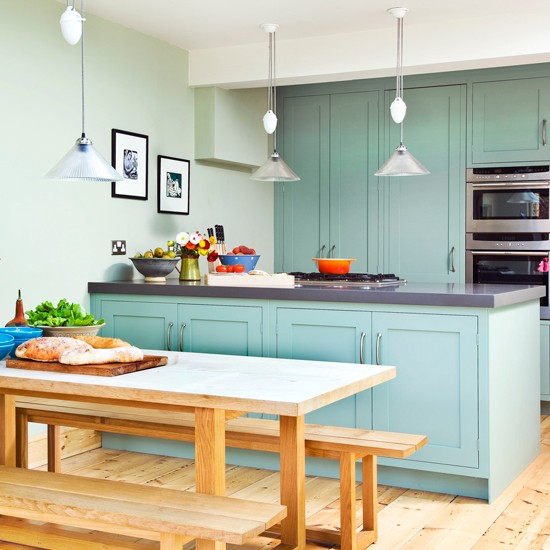 Green and wood kitchen  Green kitchen colour ideas  Colour  Design