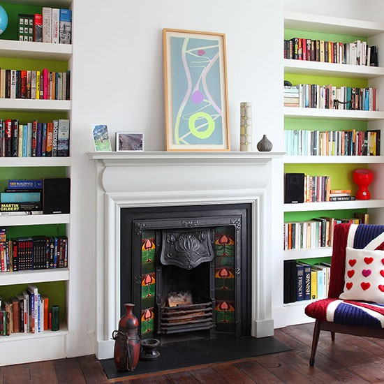 Green And White Living Room With Fireplace Living Room