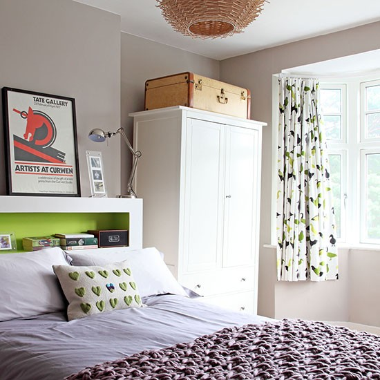 Lilac and lime bedroom with modern artwork | Bedroom decorating | Ideal Home | Housetohome.co.uk