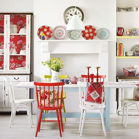 Boho red and white dining room dining room decorating for Red dining room decor