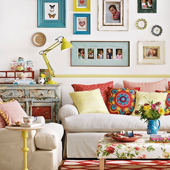 Colourful boho chic living room living room decorating for Bohemian chic living room makeover