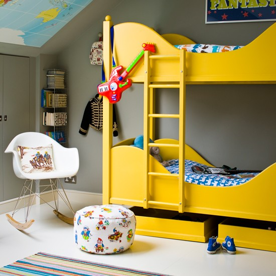 Grey Kids 39 Room With Yellow Bunk Bed Grey And Yellow