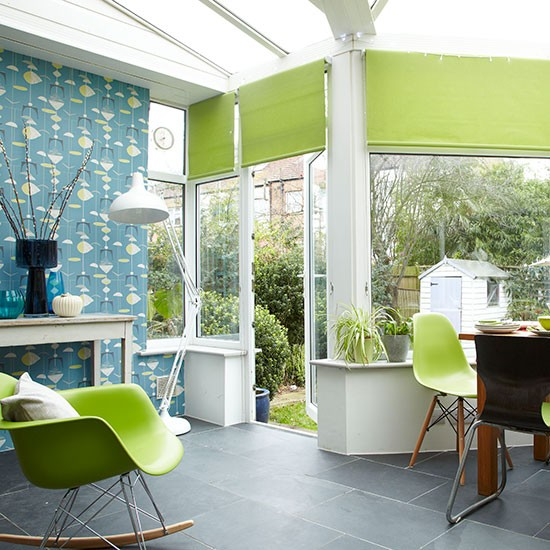 Conservatory With Teal Wallpaper Conservatory Decorating