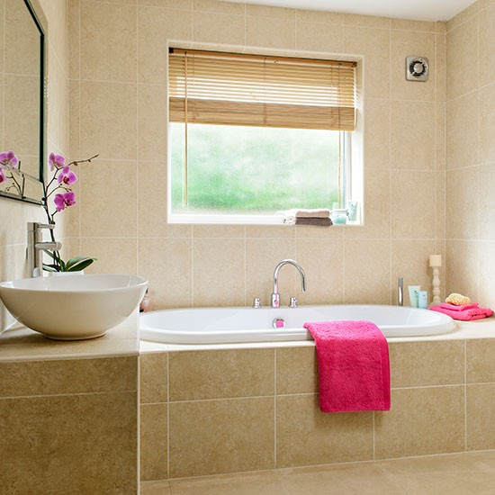 Beige and white travertine tiled bathroom | Bathroom decorating | Style at Home | Housetohome.co.uk