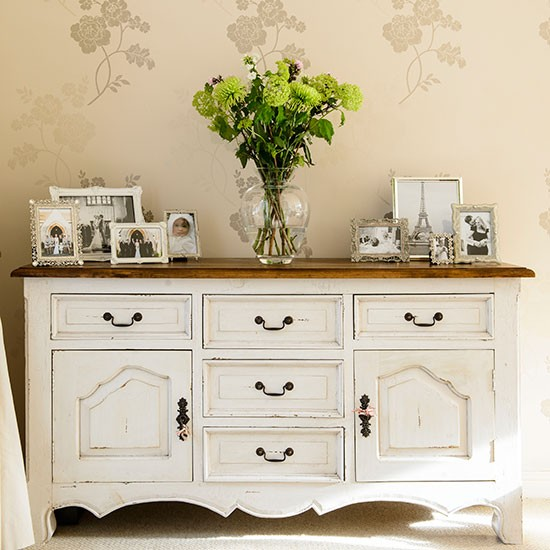 vintage style sideboard adds extra storage in the hallway combine