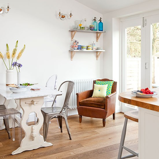Oak Flooring Kitchen: White Kitchen Diner With Oak Floor