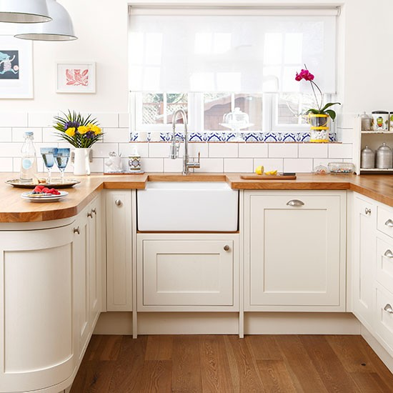 Cream kitchen with oak worktops  Kitchen decorating  housetohome co