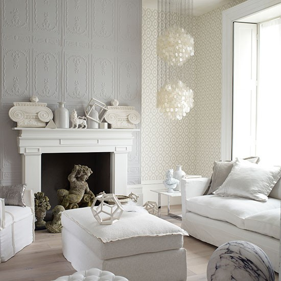 Decorative white and grey living room living room for Living room designs grey