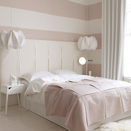 Pink and white bedroom with oversized headboard  White bedroom design